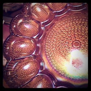 Vintage hobnail indiana carnival glass egg dish